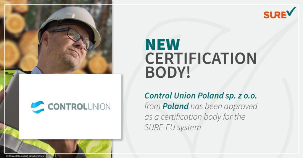 Control Union Poland akredytowaną jednostką certyfikującą w systemie SURE-EU.