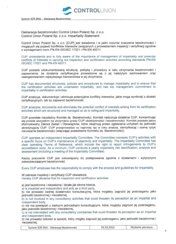 Deklaracja bezstronności KZR INiG